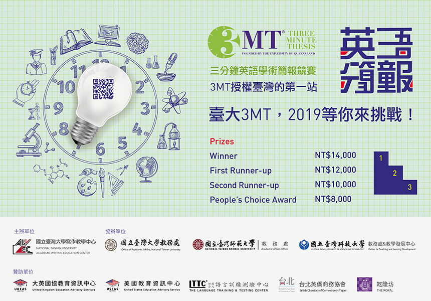2019 Three-Minute Thesis Competition (3MT) 第五屆三分鐘英語學術簡報競賽